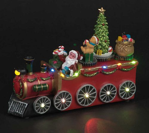 Santa's LED Train With Rotating Tree, Teddy Bear & Presents by Snowtime